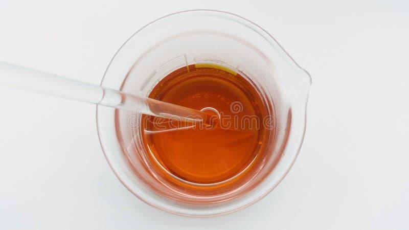 Aceite del escaramujo en el laboratorio de la farmacia imagenes de archivo