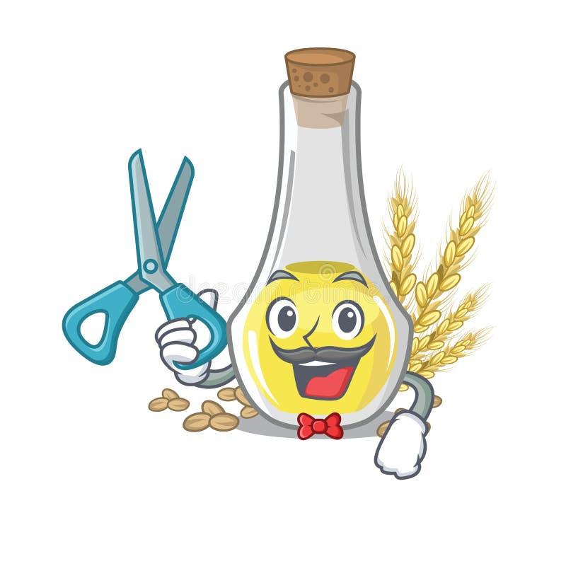 Aceite del germen de trigo del peluquero con el carácter aislado ilustración del vector