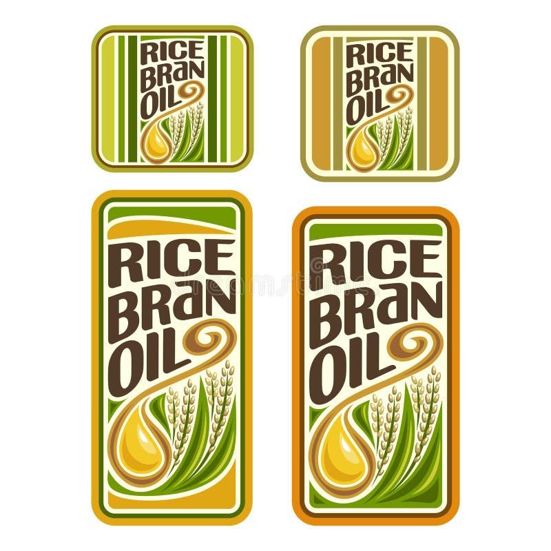 Aceite del salvado de arroz del logotipo del vector stock de ilustración