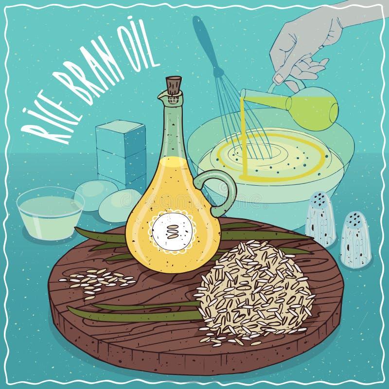 Aceite del salvado de arroz usado para cocinar stock de ilustración
