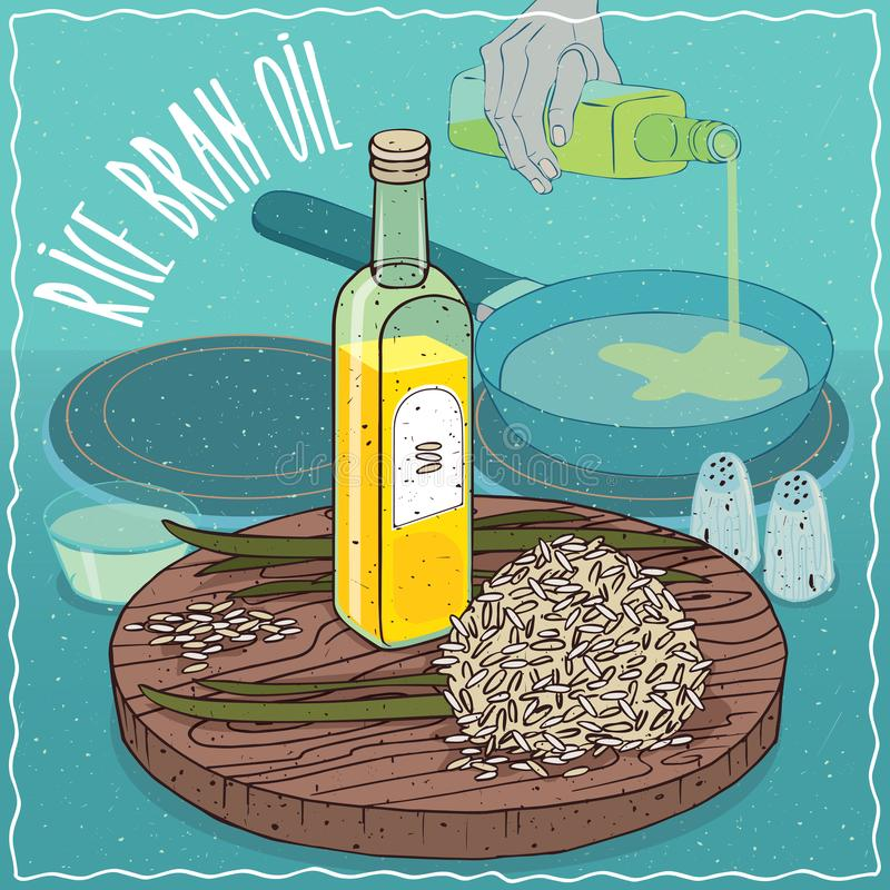 Aceite del salvado de arroz usado para freír la comida ilustración del vector