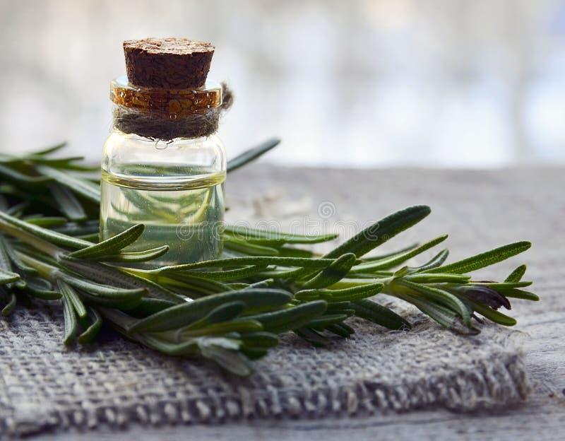 Aceite esencial de Rosemary en una botella de cristal con la hierba verde fresca del romero en la tabla de madera vieja Aceite de imagen de archivo