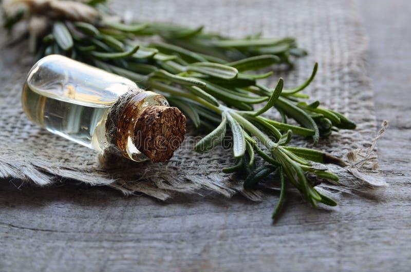 Aceite esencial de Rosemary en una botella de cristal con la hierba verde fresca del romero en la tabla de madera vieja Aceite de foto de archivo