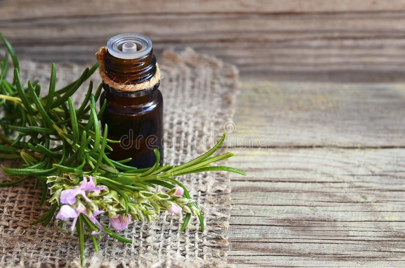 Aceite esencial de Rosemary en una botella de cristal del dropper con la hierba verde fresca del romero en la tabla de madera vie imagen de archivo libre de regalías