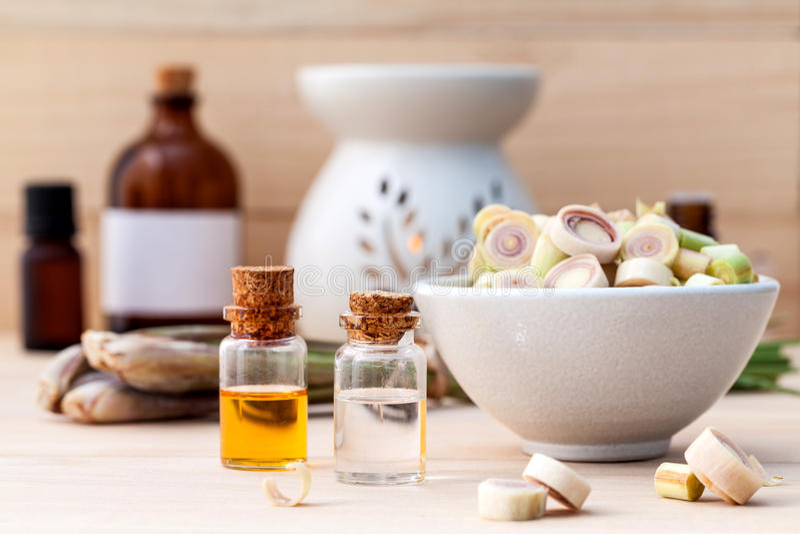 Aceite esencial del balneario del Cymbopogon natural de los ingredientes imagen de archivo