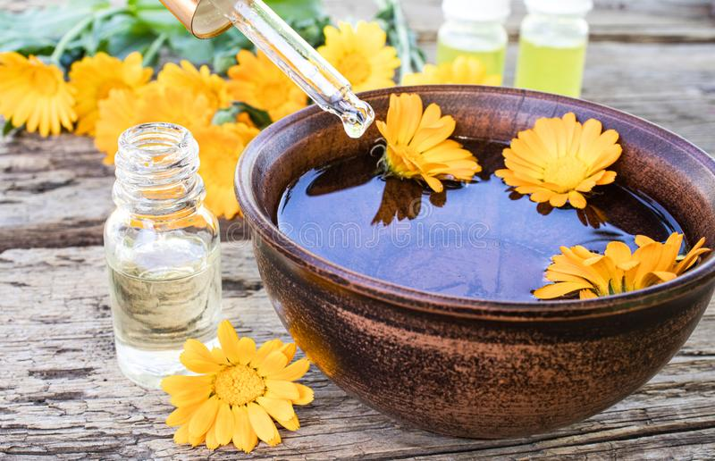 Aceite esencial del Calendula cerca de las flores amarillas del calendula en un fondo de madera Extracto de tinte del calendula e fotos de archivo libres de regalías
