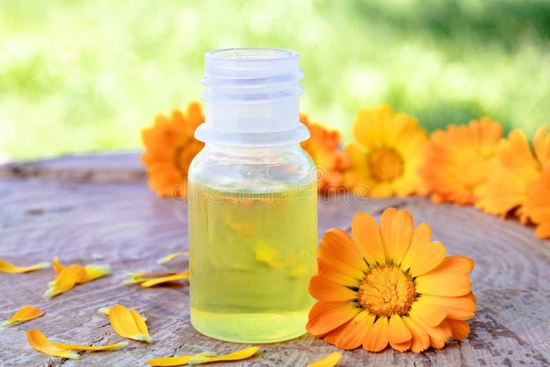 Aceite esencial del Calendula cerca de las flores amarillas del calendula en un fondo de madera en naturaleza Extracto de tinte d fotografía de archivo