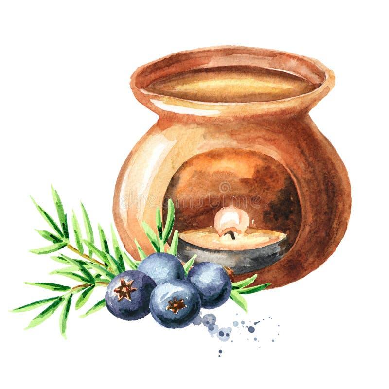 Aceite esencial del enebro y l?mpara del aroma Ejemplo dibujado mano de la acuarela aislado en el fondo blanco ilustración del vector