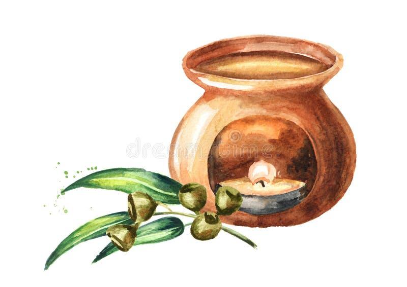 Aceite esencial del eucalipto y l?mpara del aroma Ejemplo dibujado mano de la acuarela aislado en el fondo blanco libre illustration