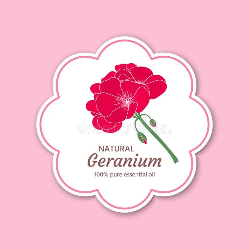 Aceite esencial del geranio Etiquetas del diseño, etiquetas engomadas, empaquetando libre illustration