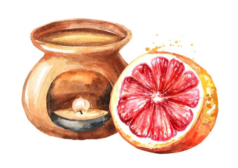 Aceite esencial del pomelo y l?mpara del aroma Ejemplo dibujado mano de la acuarela aislado en el fondo blanco stock de ilustración