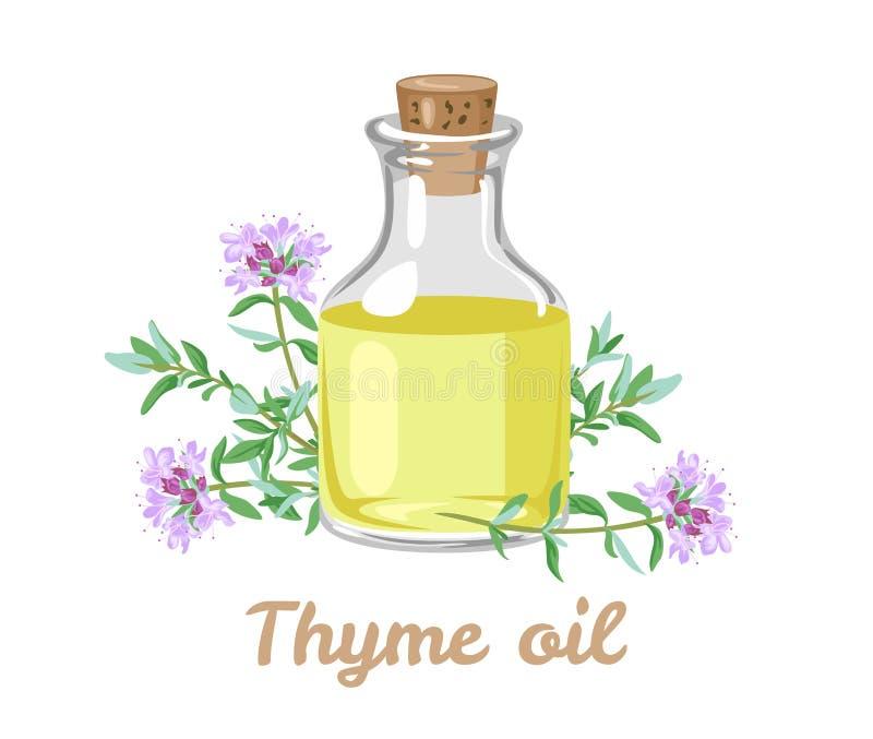 Aceite esencial del tomillo en una botella de cristal y puntillas de las plantas de florecimiento stock de ilustración