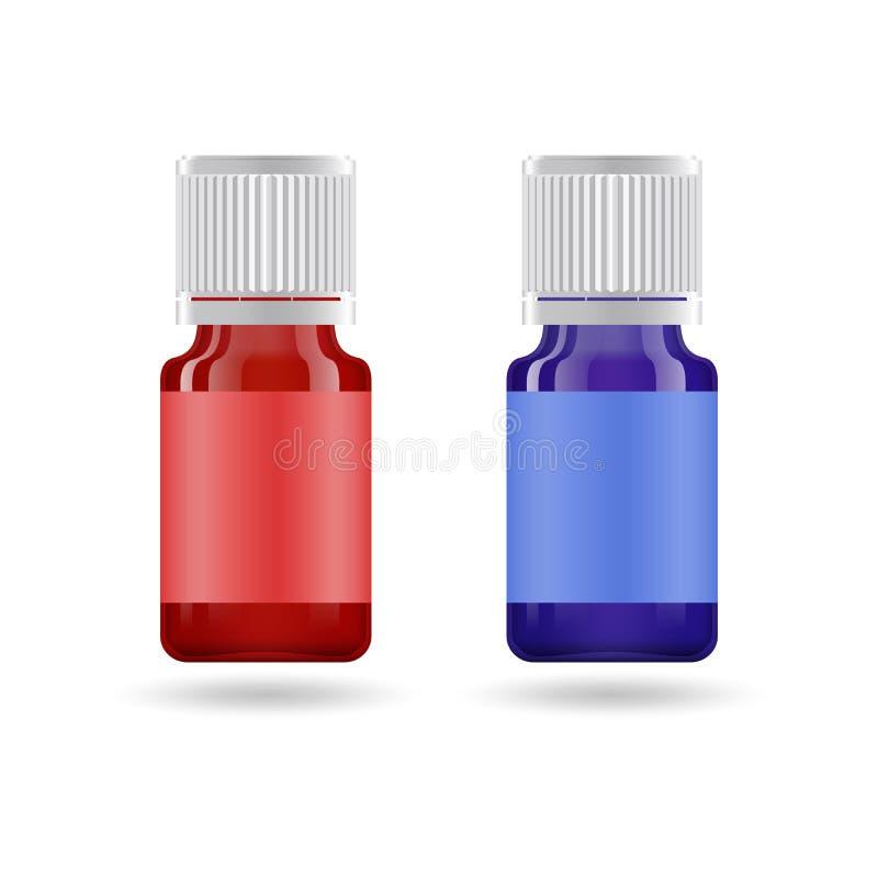 Aceite esencial en el tarro de cristal Vector la plantilla del dise?o de empaquetado y simbolice - el aceite de la belleza, m?dic ilustración del vector