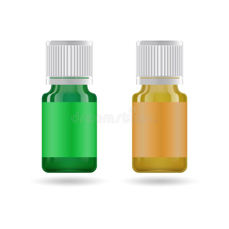 Aceite esencial en el tarro de cristal Vector la plantilla del dise?o de empaquetado y simbolice - el aceite de la belleza, m?dic stock de ilustración