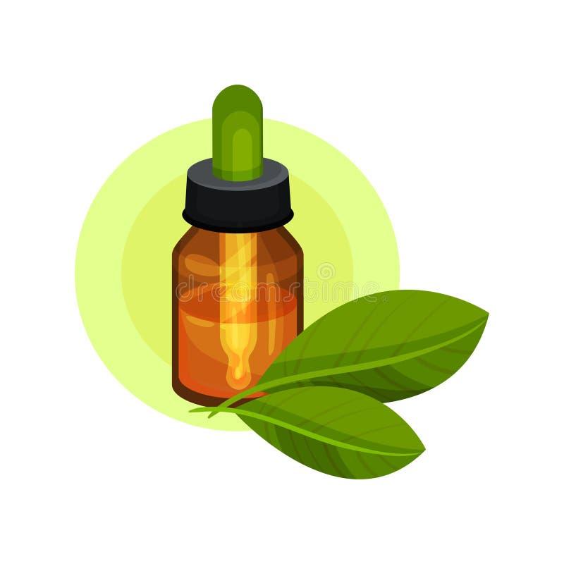 Aceite esencial en pequeña botella de cristal marrón con la pipeta y dos hojas verdes Producto cosmético natural Icono plano del  stock de ilustración