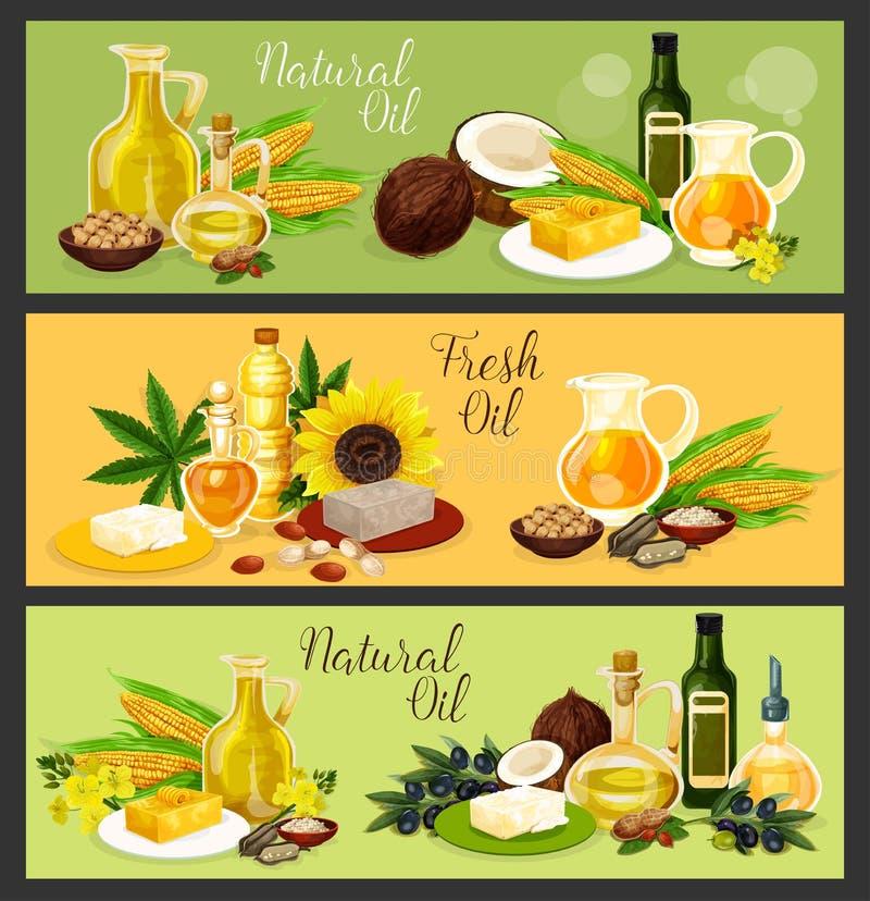 Aceite natural con la bandera del ingrediente para el diseño de la comida stock de ilustración