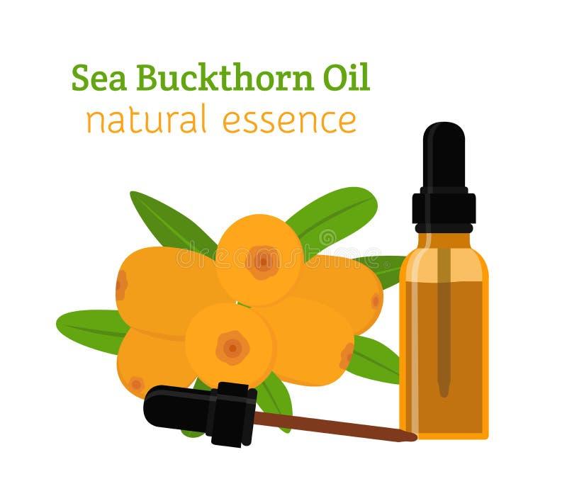 Aceite natural del espino cerval de mar Aceite esencial, cosméticos, balneario, aromatherapy ilustración del vector