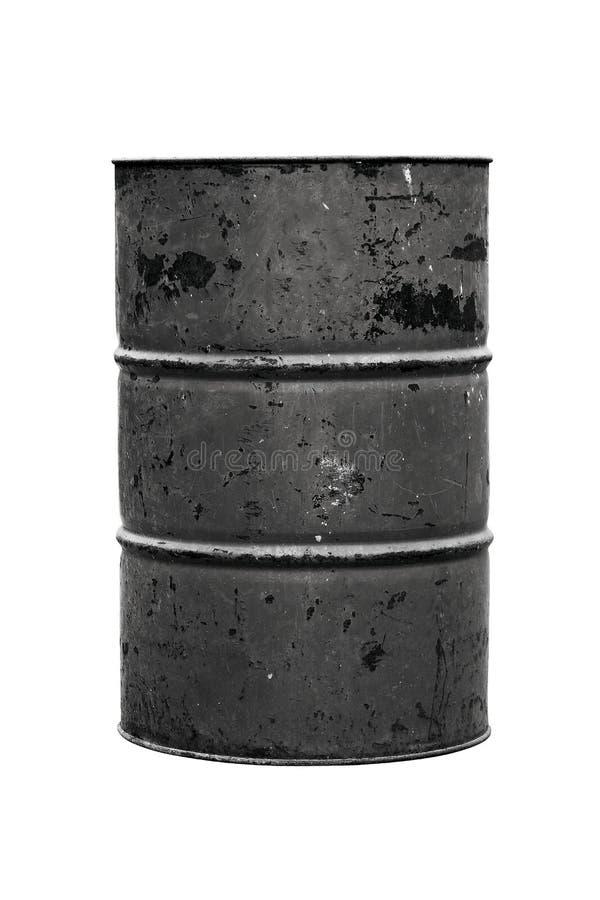 Aceite negro del barril o viejo oscuro aislado en el fondo blanco fotografía de archivo libre de regalías