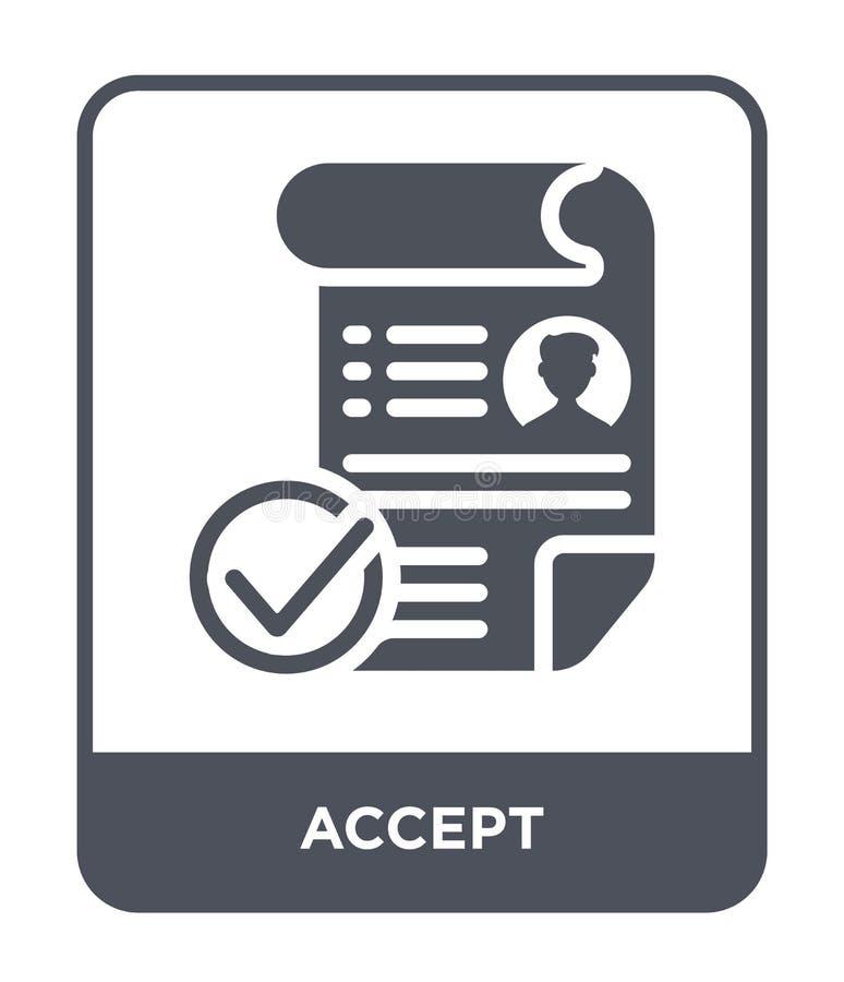 aceite o ícone no estilo na moda do projeto Aceite o ícone isolado no fundo branco aceite o símbolo liso simples e moderno do íco ilustração do vetor