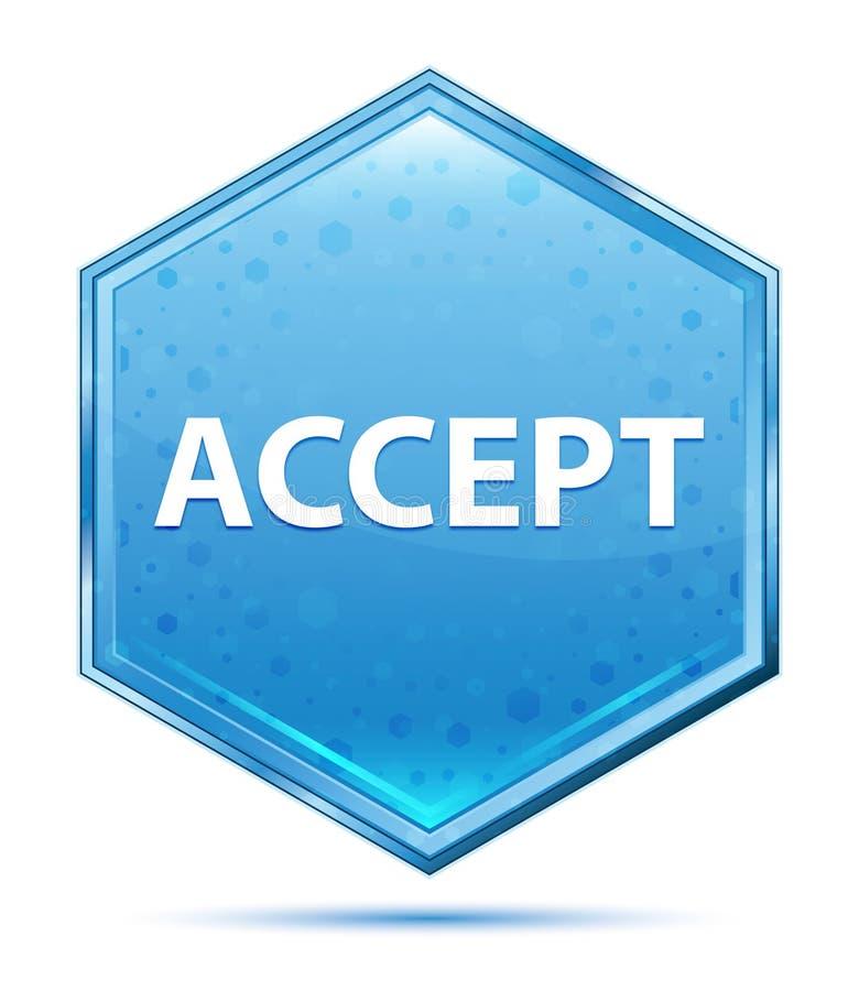 Aceite o botão azul de cristal do hexágono ilustração do vetor