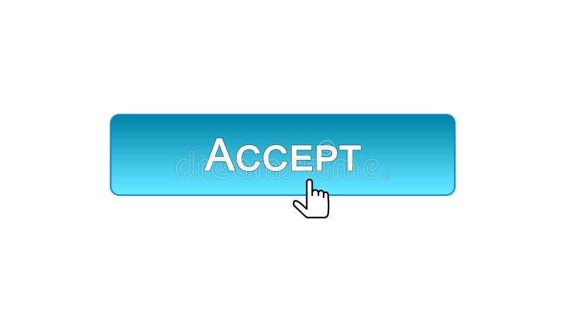 Aceite o botão da relação da Web clicado com cursor do rato, projeto azul da cor ilustração stock