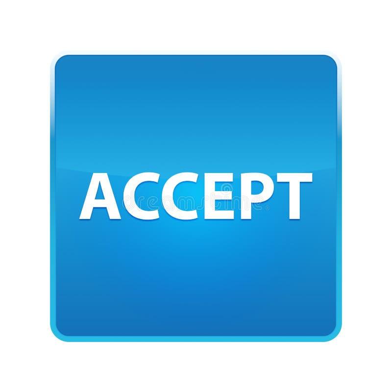 Aceite o botão quadrado azul brilhante ilustração stock
