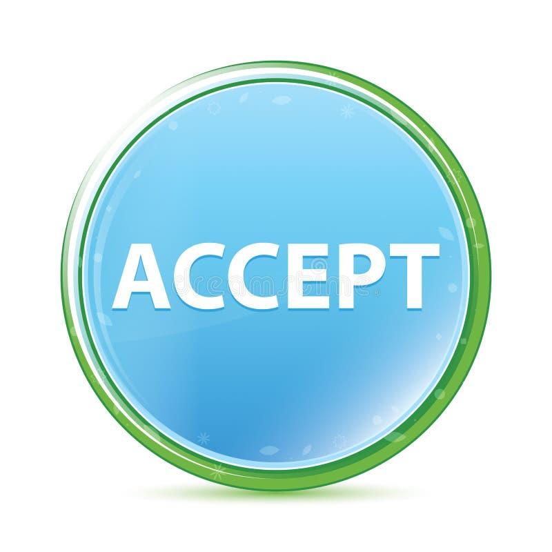 Aceite o botão redondo azul ciano do aqua natural ilustração royalty free