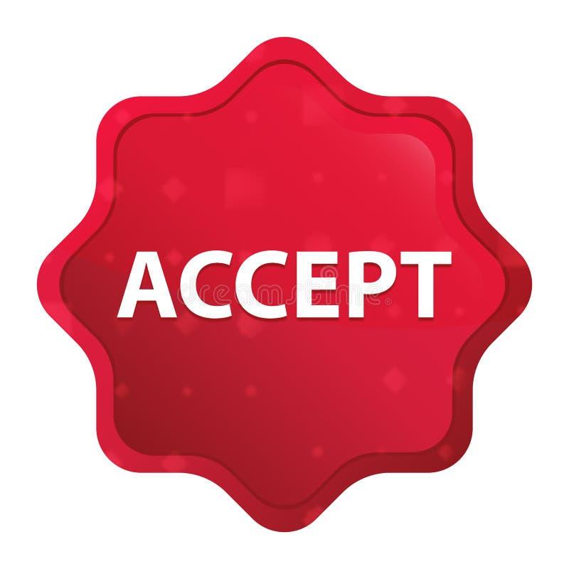 Aceite o botão vermelho cor-de-rosa enevoado da etiqueta do starburst ilustração do vetor