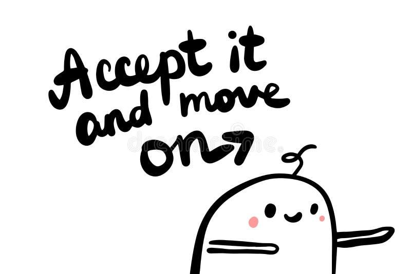 Aceite-o e mova-o disponível a ilustração tirada do vetor no homem do estilo dos desenhos animados ilustração stock