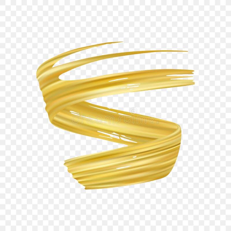 aceite o pintura acrílica realista del movimiento del cepillo del oro 3d Forma del líquido de la onda Diseño de moda libre illustration