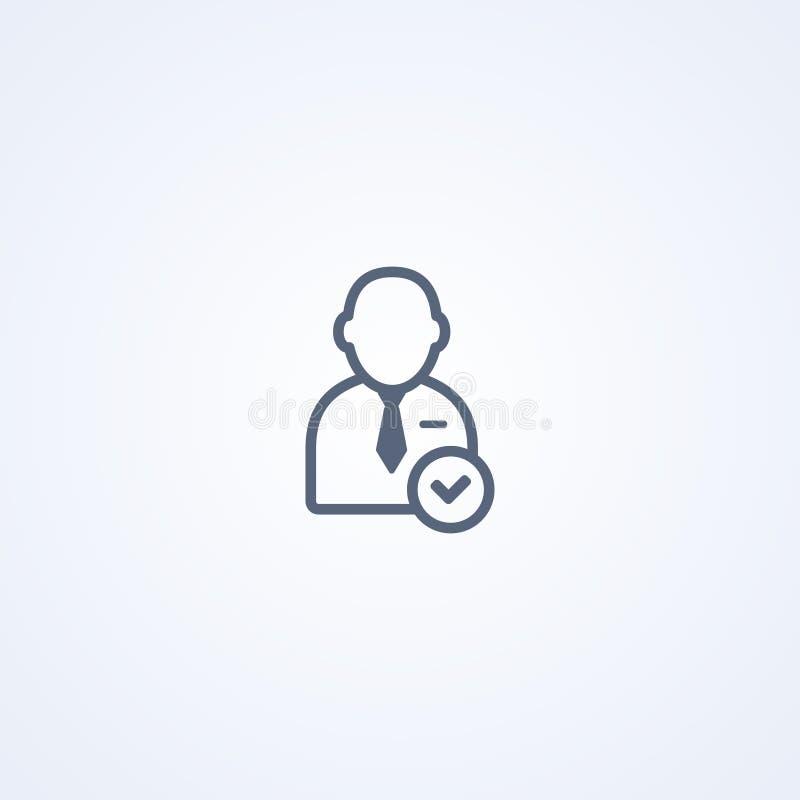 Aceite o usuário, a melhor linha cinzenta ícone do vetor ilustração royalty free