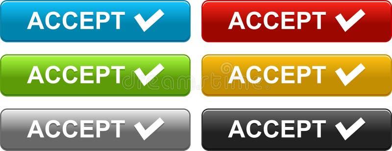 Aceite os botões coloridos no branco ilustração royalty free
