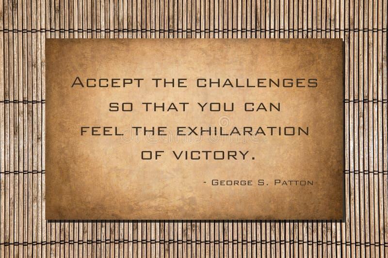 Aceite os desafios - Patton ilustração do vetor