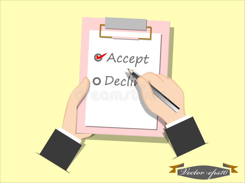 Aceite ou diminua a lista de verificação ilustração royalty free