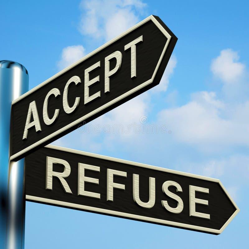 Aceite ou recuse sentidos em um Signpost ilustração royalty free