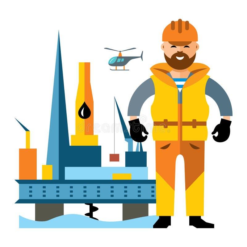 Aceite Rig Drilling Platform del mar del vector y oilman Ejemplo colorido de la historieta del estilo plano libre illustration