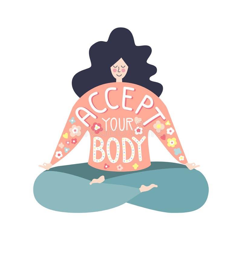 Aceite seu corpo Ilustração lisa bonita do vetor com uma frase inspirador ilustração do vetor