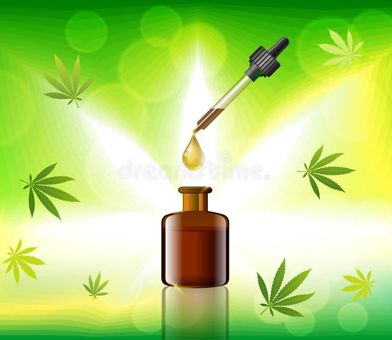 Aceite verde del cáñamo del vector Aceite de CBD Etiqueta de la hoja de la marijuana Graphi libre illustration