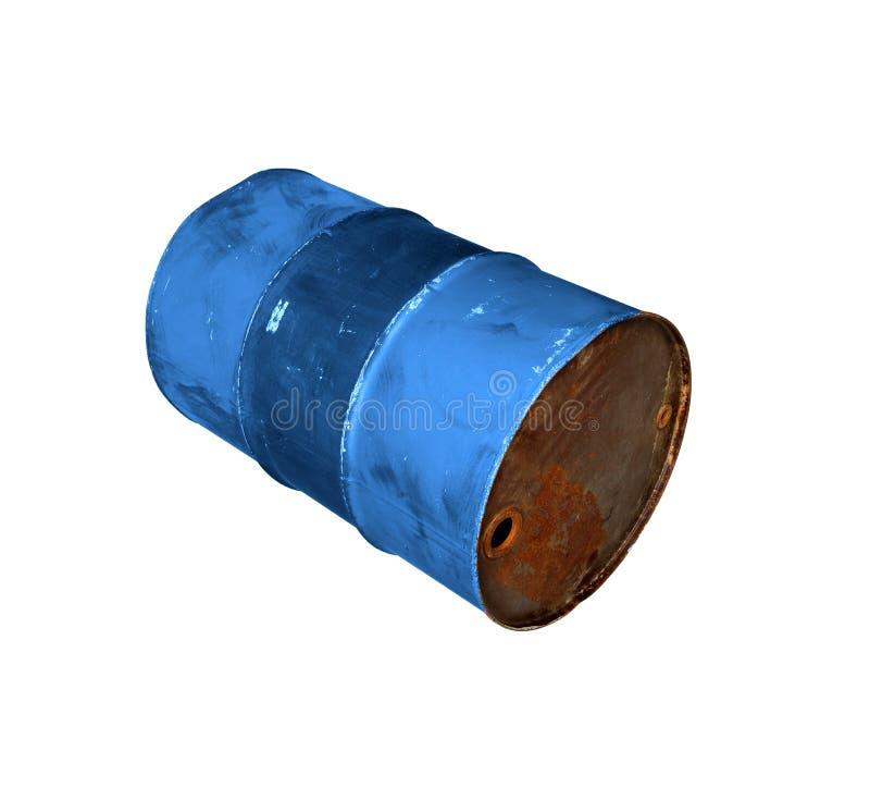 Aceite viejo del barril del metal aislado en blanco fotos de archivo