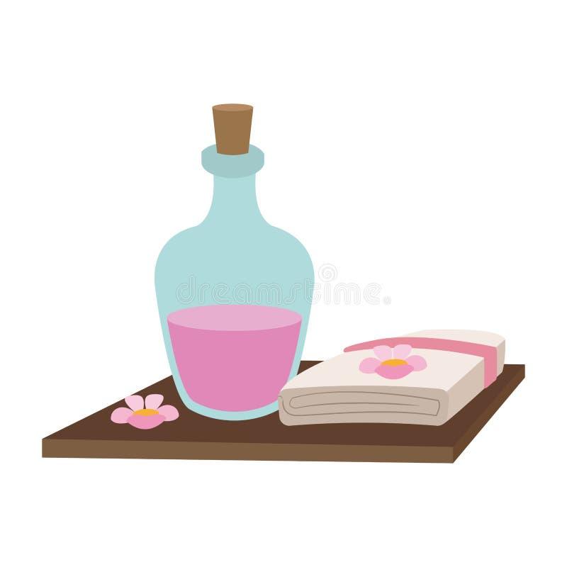 Aceite y toallas del balneario stock de ilustración