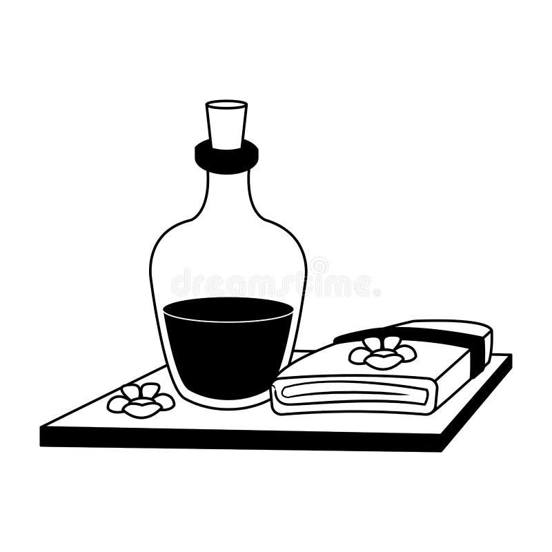 Aceite y toallas del balneario en blanco y negro stock de ilustración