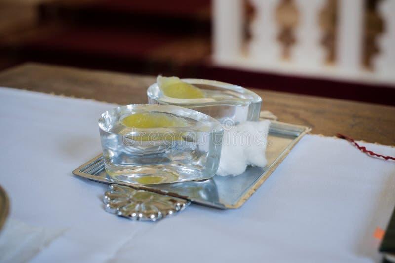 Aceites del bautizo fotos de archivo