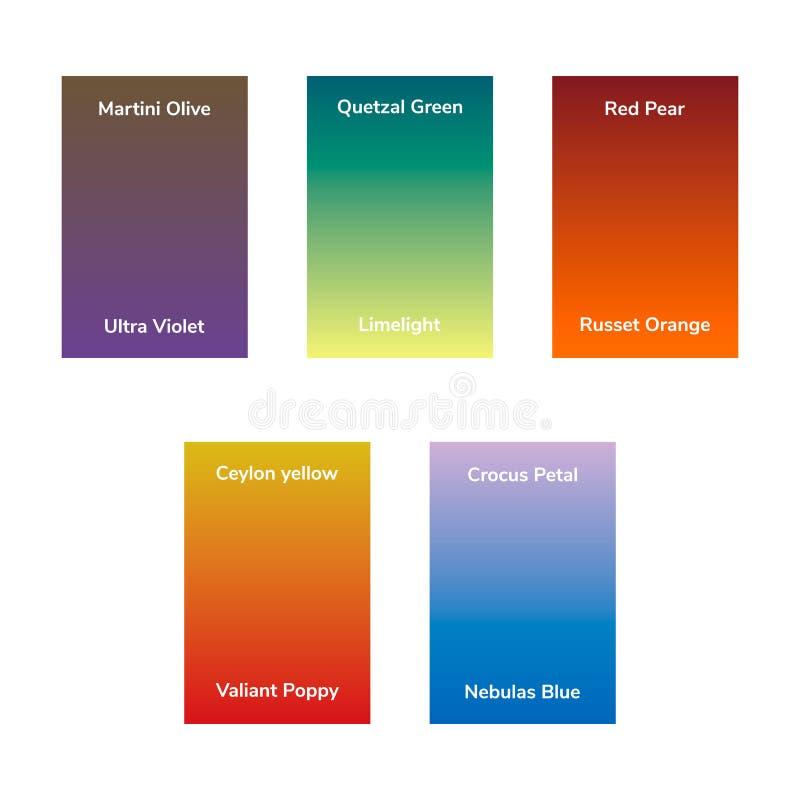 Aceituna de Martini, verde del quetzal, pera roja, ultravioleta, luz de calcio, naranja pelirroja, amarillo de Ceilán, pétalo del stock de ilustración