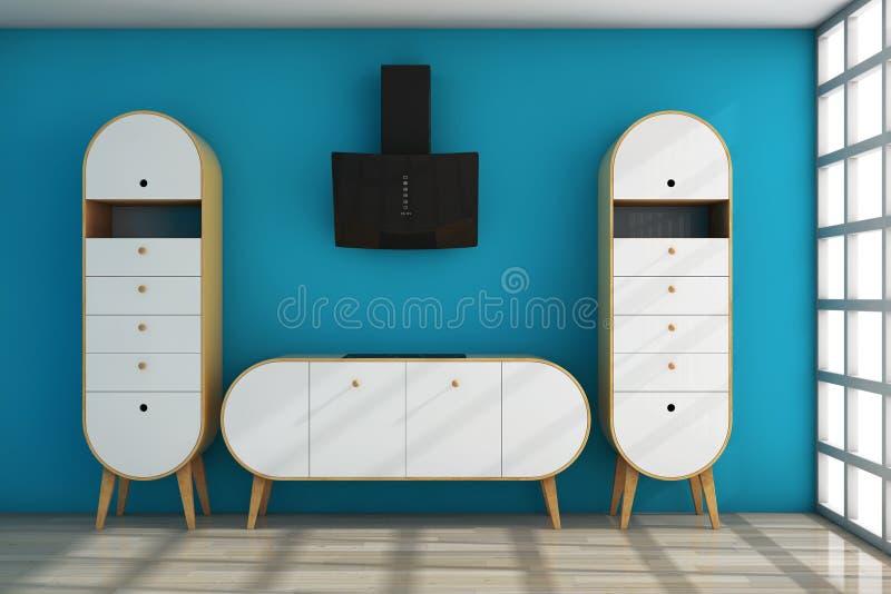 Aceituna moderna simple - cocina verde representación 3d stock de ilustración