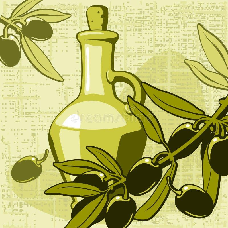 Aceituna y tarro con petróleo stock de ilustración