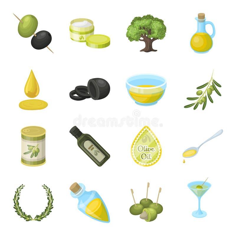 Aceitunas, árbol, rama y otros productos de aceitunas Las aceitunas fijaron iconos de la colección en la acción del símbolo del v stock de ilustración