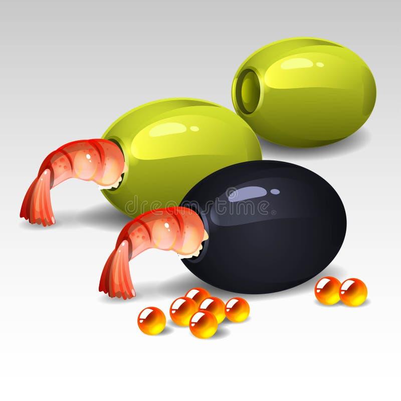 Aceitunas con los camarones ilustración del vector