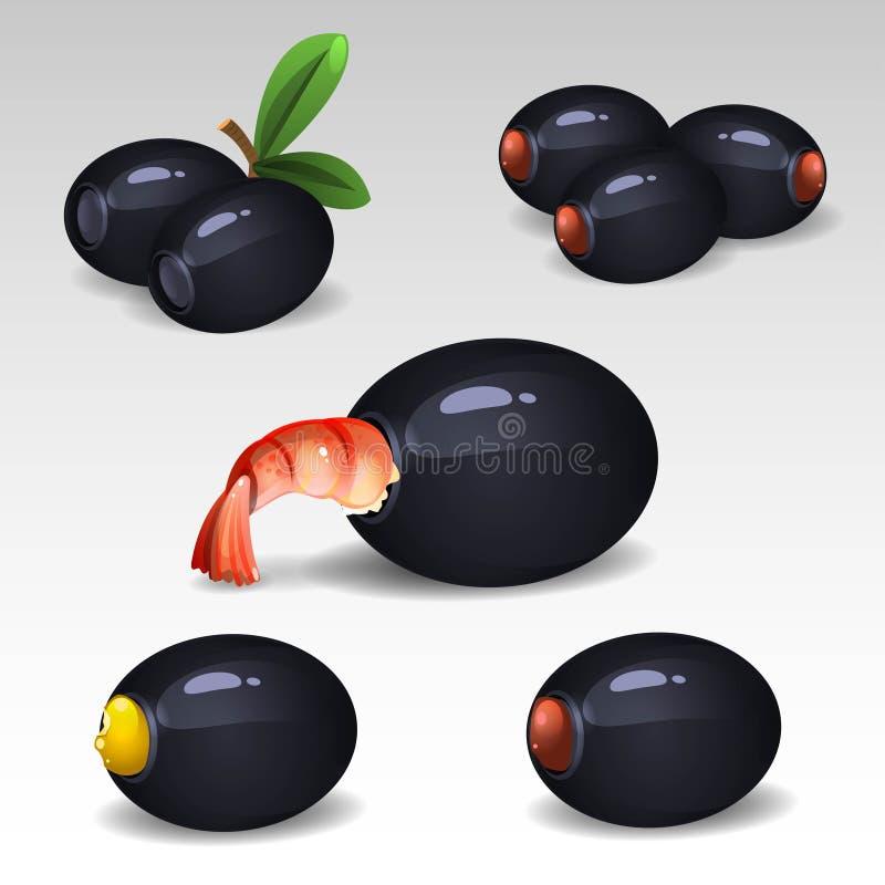 Aceitunas negras con los camarones libre illustration