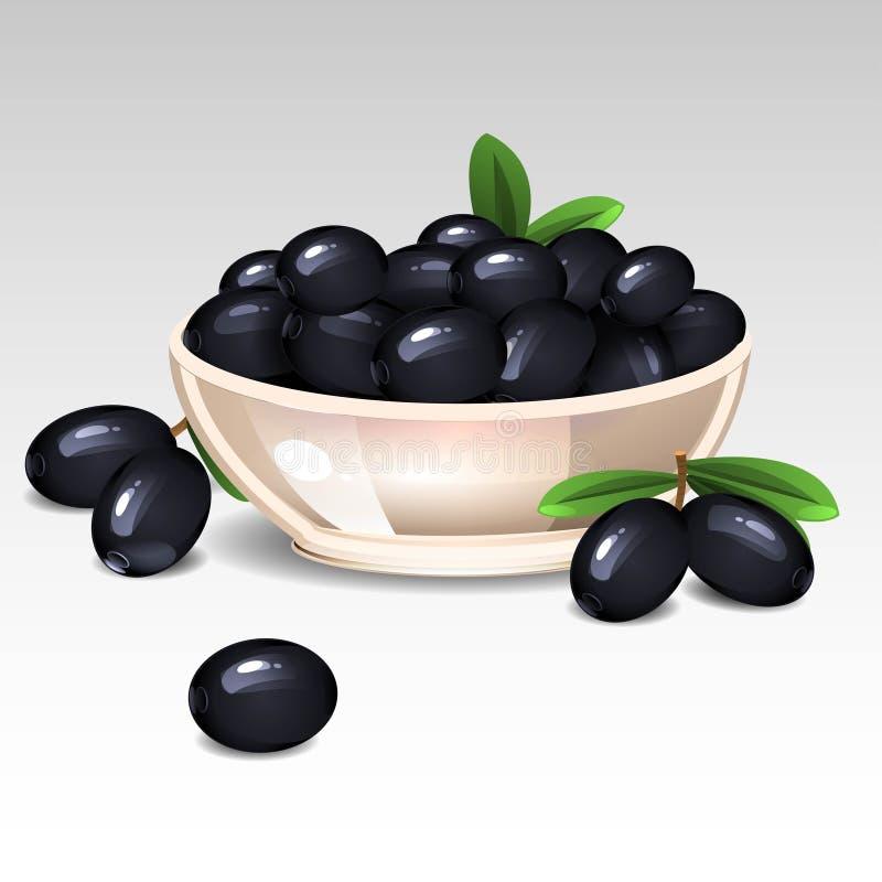 Aceitunas negras en una placa ilustración del vector