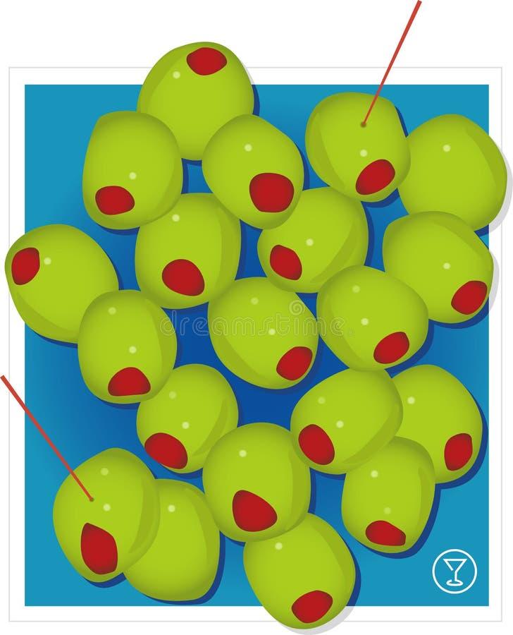 Aceitunas verdes del coctel (vector ilustración del vector